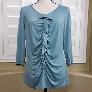 Talbots Ruched Front Ruffle Top